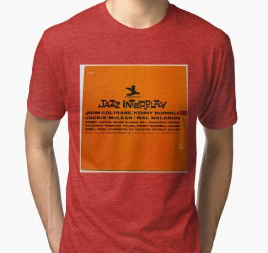 Jazz Interplay lp Record back Cover Tri-blend T-Shirt by Vintaged T-Shirt