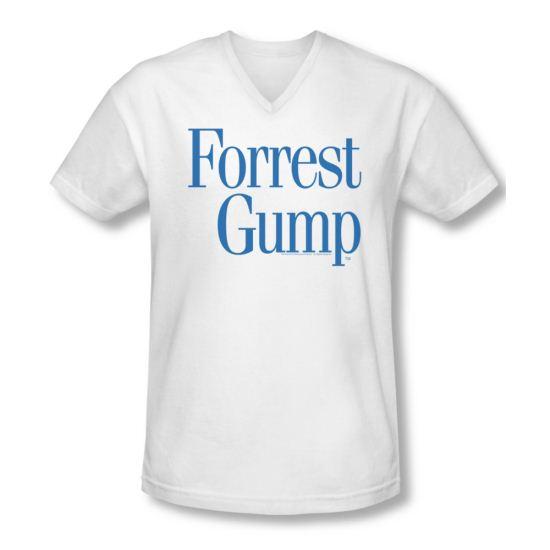 Forrest Gump Shirt Slim Fit V Neck Logo White Tee T-Shirt
