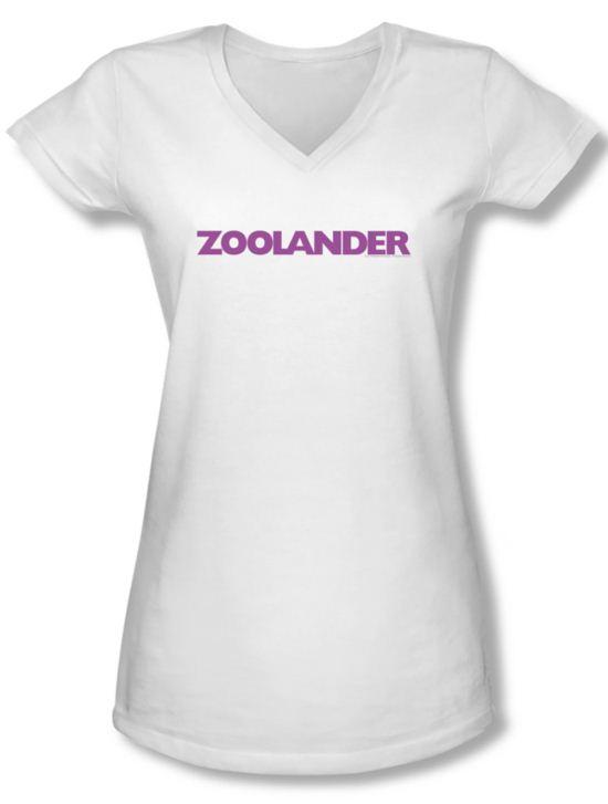 Zoolander Shirt Juniors V Neck Logo White Tee T-Shirt