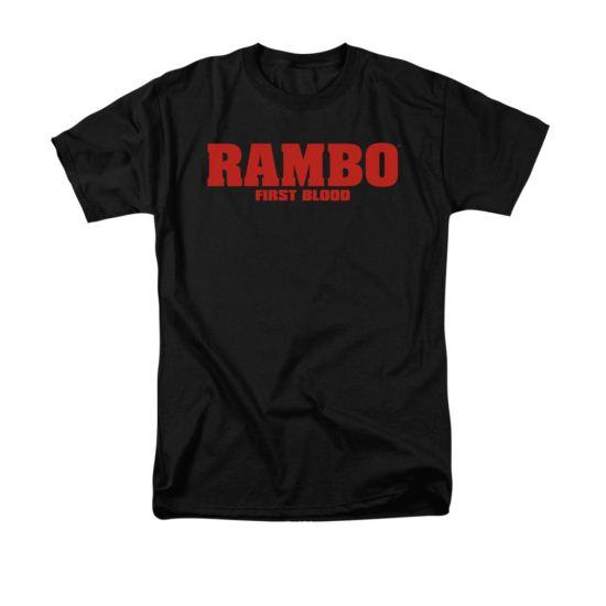 Rambo First Blood Shirt Logo Adult Black Tee T-Shirt