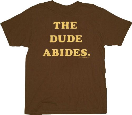 The Big Lebowski The Dude Abides Text Only Brown Adult T-shirt