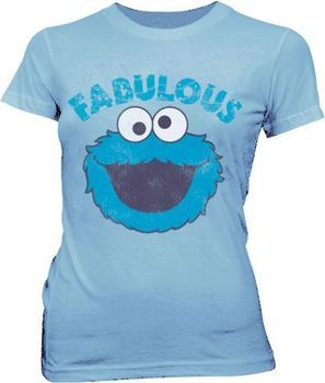 Sesame Street Fabulous Cookie Monster Polar Blue Juniors T-shirt