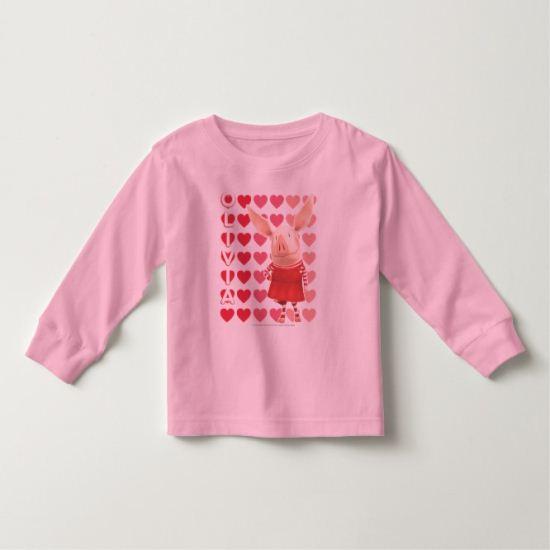 Olivia - Heart Background Toddler T-shirt