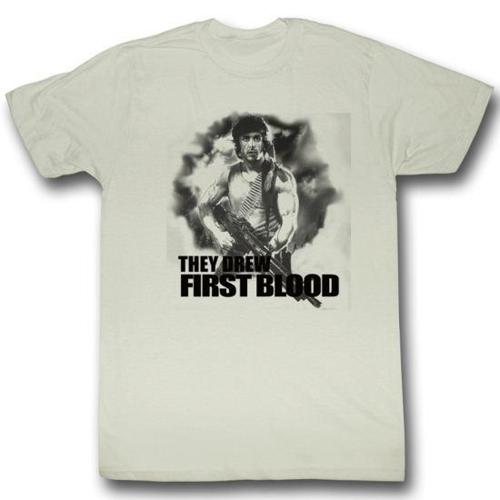 Rambo Shirt First Blood Adult Dirty White Tee T-Shirt