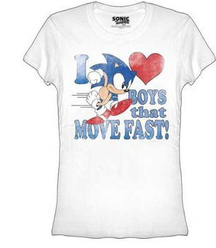 Sonic the Hedgehog I Heart Love Boys That Move Fast Juniors/Ladies T-shirt