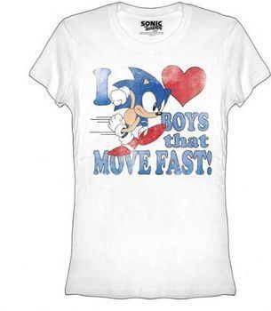 Sonic the Hedgehog I Heart Love Boys That Move Fast Juniors/Ladies T-shirt
