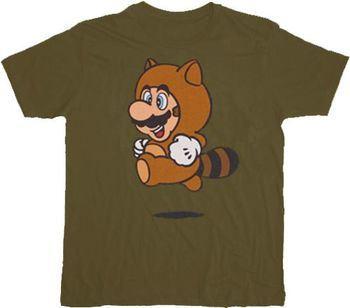 68a216267839 ... Nintendo Super Mario Tanooki Suit Military Green T-shirt
