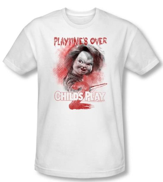 Child's Play 2 T-shirt Movie Playtime's Over White Slim Fit Tee Shirt