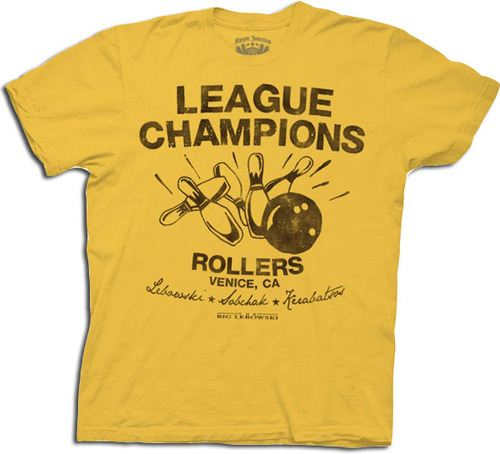 The Big Lebowski Bowling League Champions Rollers Gold Adult T-shirt