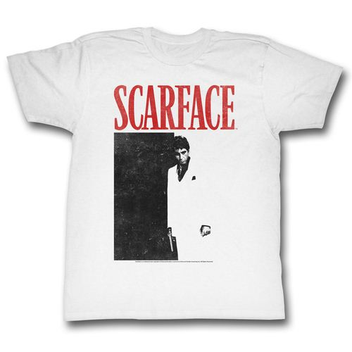 Scarface Black & Red Poster Adult White T-Shirt