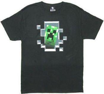 Minecraft Game Creeper Inside Adult Black T-Shirt