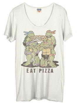 Junk Food TMNT Teenage Mutant Ninja Turtles Eat Pizza Juniors T-Shirt