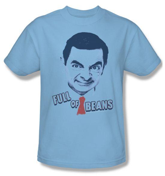 Mr. Bean Shirt Full Of Beans Adult Light Blue Tee T-Shirt