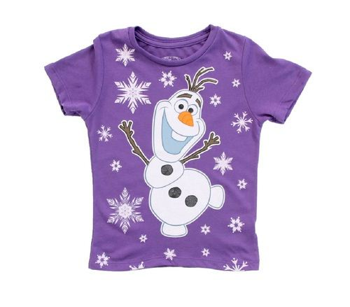 Disney Frozen Snowing on Olaf Snowman Girls Purple T-Shirt