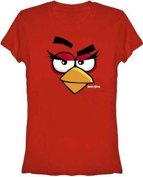 Angry Birds Girly Face Red Juniors T-shirt