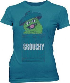 Sesame Street Oscar the Grouch Grouchy Mosaic Blue Juniors T-shirt