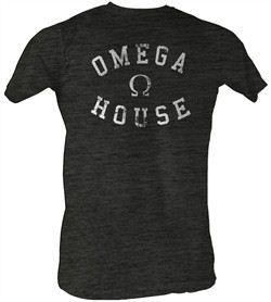 Animal House T-Shirt ? Omega House Adult Charcoal Heather Tee Shirt
