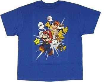 Nintendo Super Mario with Enemies Burst T-Shirt