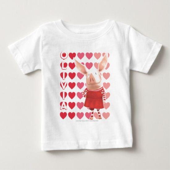 Olivia - Heart Background Baby T-Shirt