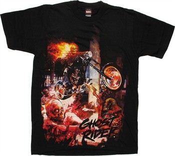 Marvel Zombies Ghost Rider Flaming Bike T-Shirt