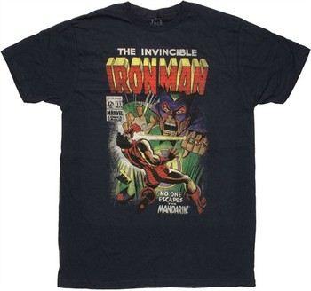 """1d8bdd92 ... Marvel Comics Iron Man vs Mandarin No One Escapes Jack of All Trades T- Shirt. """""""