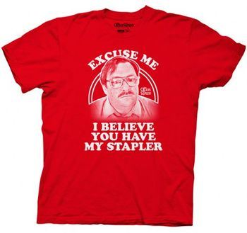 Office Space Milton Waddams Image Stapler Red Mens T-shirt