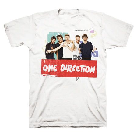 One Direction: One Direction Big Band White T-Shirt - Large