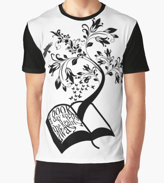 'A Book A Day Keeps The Reality Away - Typography' Graphic T-Shirt by Cait Jacobs T-Shirt