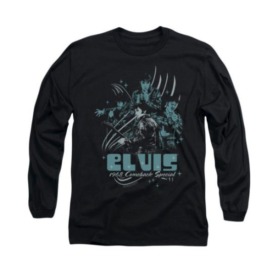 Elvis Presley Shirt 68 Leather Long Sleeve Charcoal Tee T-Shirt