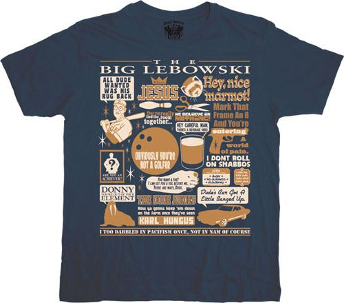 Big Lebowski Quote Mashup Navy T-shirt