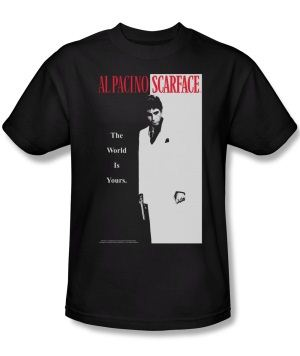 Scarface Classic Al Pacino The World Is Yours Adult Black T-Shirt