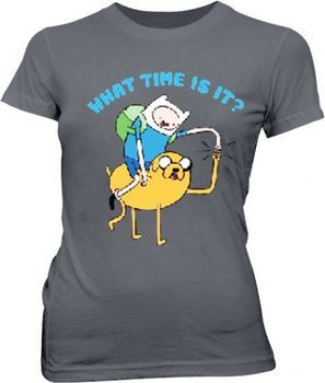 Adventure Time Jake and Finn What Time Is It Pound Juniors Dark Gray T-Shirt