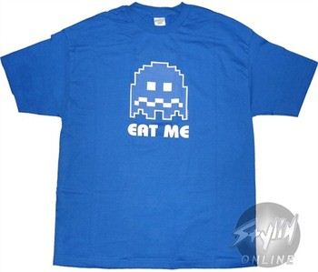 Pacman Ghost Eat Me Blue T-Shirt