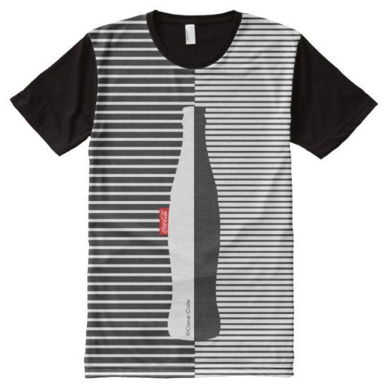 Black & White Micro Stripe Coca-Cola All-Over Print Shirt