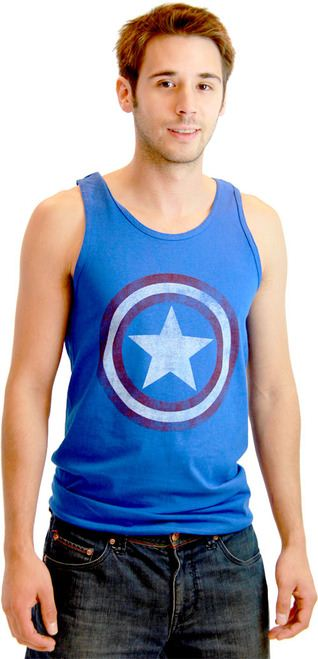 Captain America Distressed Star Shield Tank Top Shirt