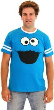 Sesame Street Cookie Monster Face With Striped Seeves Turquoise Blue T-shirt