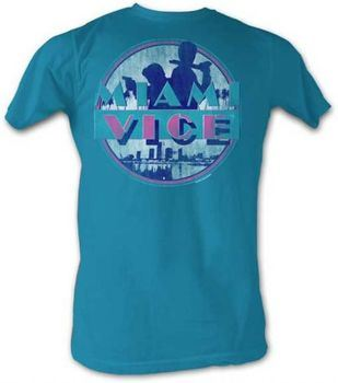 Miami Vice Busted Distressed Print Turquoise Adult T-shirt