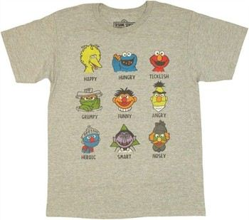 Sesame Street Character Expressions T-Shirt Sheer