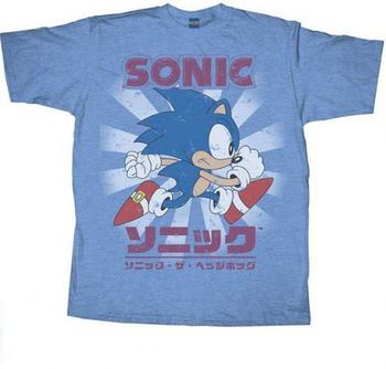 Sonic the Hedgehog Sly Sonic Kanji Heather Light Blue Adult T-Shirt