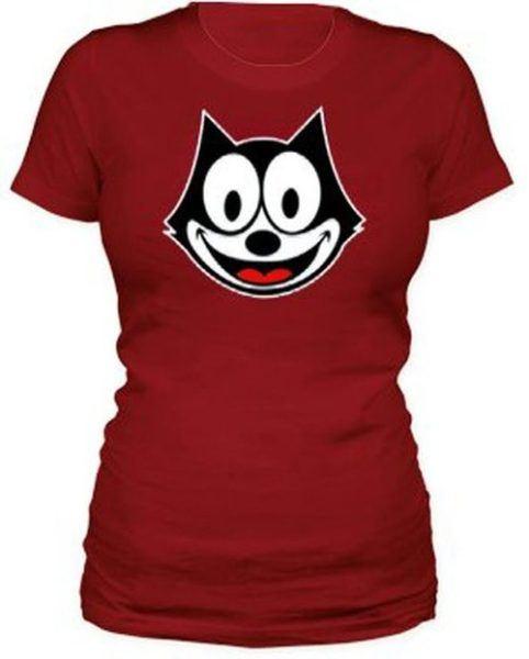 Felix the Cat Face Juniors Red T-shirt