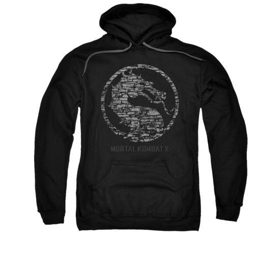 Mortal Kombat Hoodie Stone Logo Black Sweatshirt Hoody