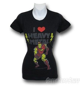 Iron Man Juniors I Love Heavy Metal T-Shirt