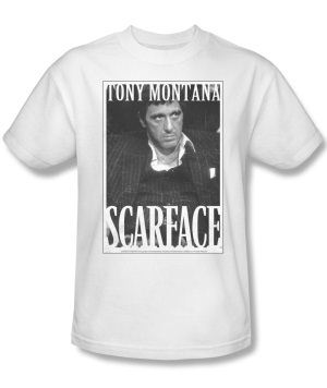 Scarface Tony Montana Business Face Adult White T-Shirt
