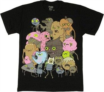 Adventure Time with Finn and Jake Candy Zombies Group Shot T-Shirt