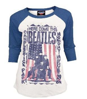 Junk Food Here Comes The Beatles Distressed Thermal Raglan Cream and Blue Juniors T-shirt