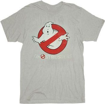 Ghostbusters Faded Logo To Go Silver T-shirt