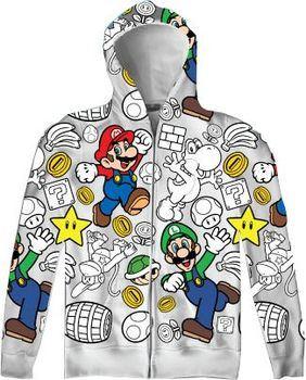 Nintendo Super Mario Luigi Allover Mens Zip-Up Adult Hooded Sweatshirt Hoodie