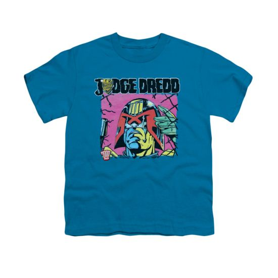 Judge Dredd Shirt Kids Retro Comic Turquoise T-Shirt
