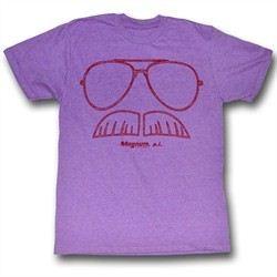 Magnum PI Shirt Glasses Adult Purple Heather Tee T-Shirt