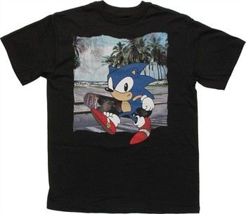 Sega Sonic the Hedgehog Beach Skateboard Youth T-Shirt